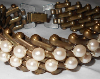 Vintage bracelet glass pearls brass and steel chunky 1950s jewelry Free USA Shipping