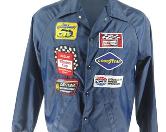 Vintage 80s Champion Racing Jacket Mens L Patches SirJac Nascar Winston [H36O_0-8]