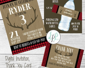 Buffalo Plaid Birthday Invitation, Lumberjack Birthday Invitation, Rustic Invitation, Lumberjack Thank You Card, Buffalo Plaid Water Bottle
