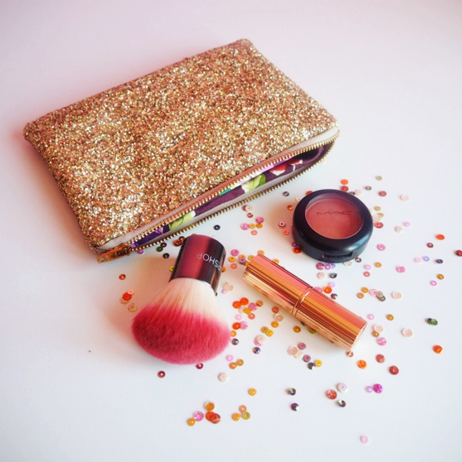 Gold Rainbow Glitter Makeup Bag Sparkly Gold Cosmetic Bag