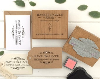 Personalised Save the Date Wedding Rubber Stamp - Traditional Design