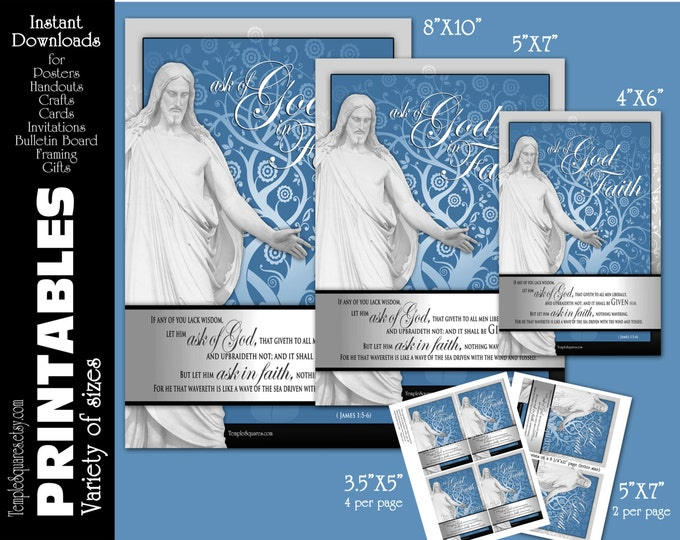 Printable Posters Handouts LDS YW Young Women 2017 Mutual Theme Ask of God Ask in Faith 4 sizes. Christ Scripture Crafts James 1:5-6
