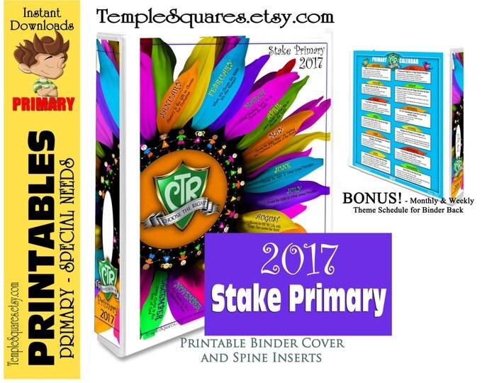 Printable LDS STAKE Primary Presidency Organization 2017 CTR Choose The Right. Also Sharing Time Monthly and Weekly Lessons for binder back.