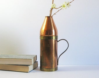 Vintage Copper Pitcher Vase with Brass Handle - Copper Bullet Vase - Rustic Home Decor - Tall Flower Vase - Made in Korea - Water Pitcher