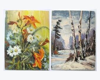 Double Sided Painting - Summer Flower Bouquet - Winter Landscape -  12x16 Vintage Original Art - Impasto Oil Painting - Spring Home Decor