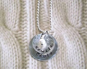 Personalized Handstamped Necklace- Name Necklace- Sterling Silver- Mom Necklace- 2 discs