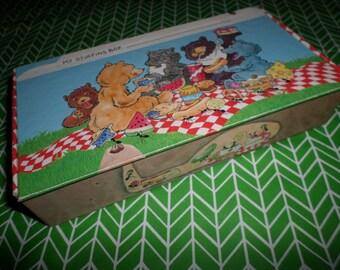 School Box Teddy Bear Picnic UNUSED Pencil Case 80's CUTE