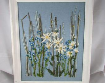 Crewel Embroidery Wall Hanging Flowers Wood Frame Art VTG Boho 70s