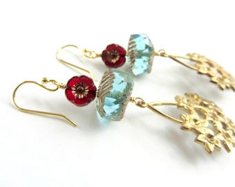 Red and Blue Beaded Floral Earrings, Vintage Gold Bouquet of Flowers Dangle Earrings