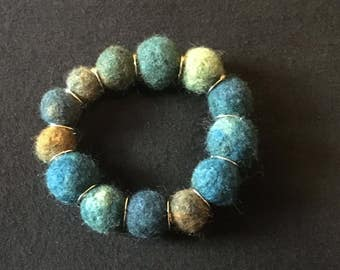 Hand felted with wood bracelet