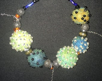 Hand felted and beaded with semi precious stones bracelet