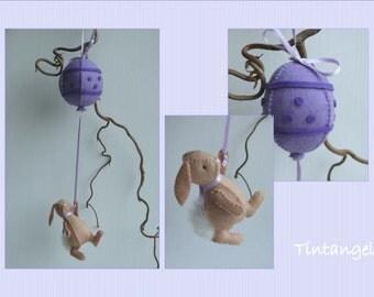 Easter Bunny and an Egg Balloon - Lilac - DIY kit