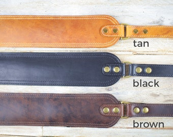 GS47 Leather Guitar Strap, leather bass strap, wide guitar strap, hand-crafted, high quality vegetable tanned leather, brown, black, tan