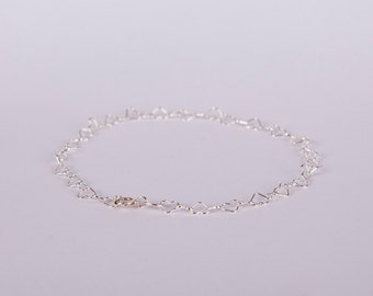 Anklet Sterling Silver Heart Links Love Chain Plated Hearts
