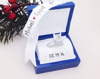 FREE SHIPPING Engagement Ring Personalized Christmas Ornament / Engagement Ornament / Engaged / Valentines Gift / Gift for Her