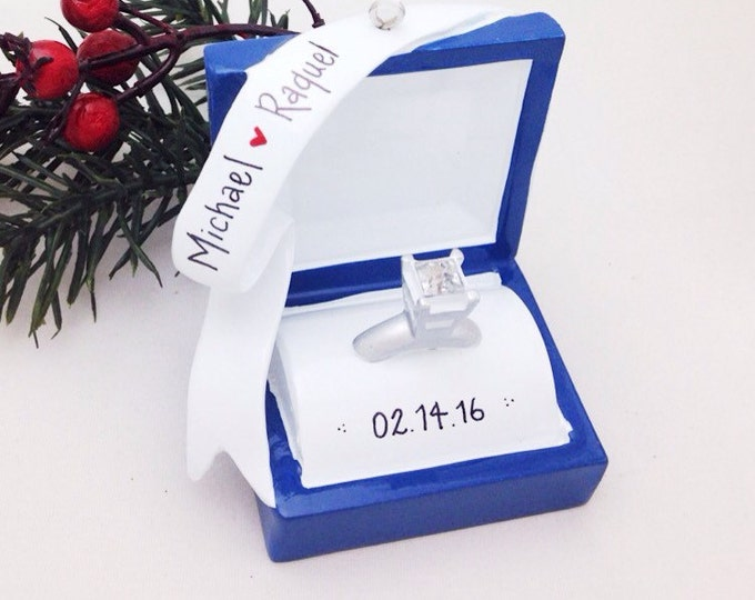 Featured listing image: FREE SHIPPING Engagement Ring Personalized Christmas Ornament / Engagement Ornament / Engaged / Valentines Gift / Gift for Her