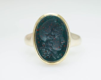 Vintage Cameo Intaglio Bloodstone Ring 14k Yellow Gold Solitaire Jewelry