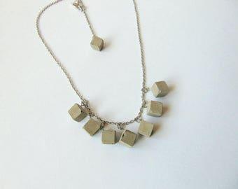 Concrete Cube Necklace, Geometric Concrete Jewelry, Industrial Cube Necklace