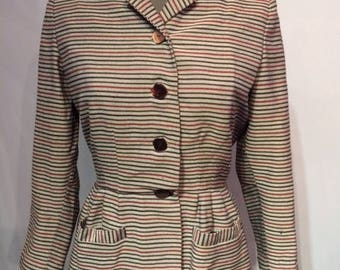 1940s Peplum  Striped jacket
