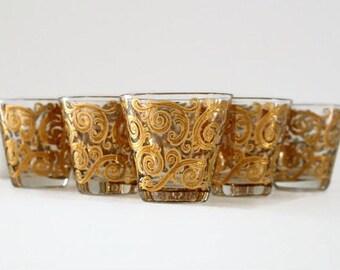 Vintage Culver Set of 8 Mid Century Glassware Barware