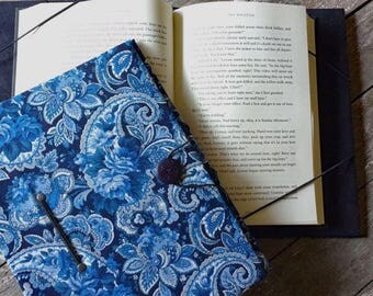 Hands free reading extra large book holder for hardcover books and very large paperback books, XXL, blue floral paisley print book cover