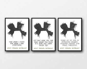 Set of 3 Basquiat Prints, 11 x 14/8 x 10/5 x 7  A3/A4/A5    Gift for Art Lovers