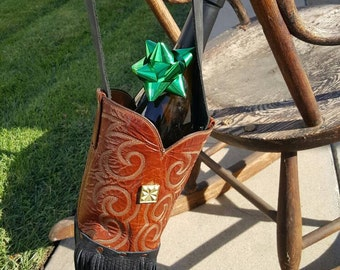 """The """"Cowboy Up"""" Leather Boot Wine Bottle Caddy"""