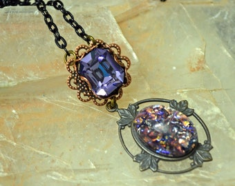 Made W/ Swarovski Tanzanite Purple Fire Glass Opal Antiqued Black Patina Victorian Pendant Necklace