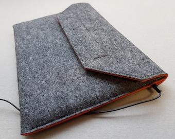 iPad Air Case / iPad Air Sleeve / iPad Air Cover in Mottled Dark Grey Outer and Orange Inner - 100% Wool Felt