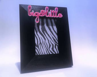 big little photo frame black w pink and white letters