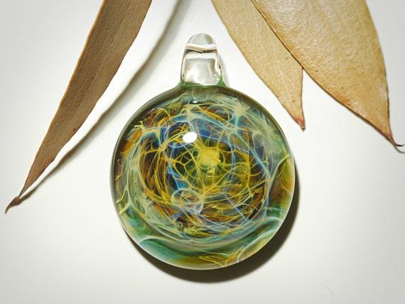 Glass Pendant - Green Universe Pendant - Glass Art - Unique Bead - Blown Glass Jewelry - Glass Necklace - Boro Pendant - Universe Filament