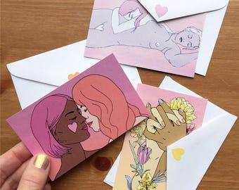 3 mini femme 4 femme cards - queer lovers card set - lesbians greeting cards - Lovestruck Prints