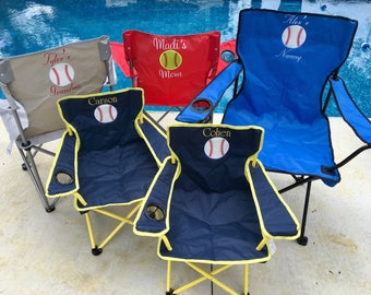 Personalized Baseball Chair, Baseball Mom Chair, Lawn Chair, Folding Chair, Stadium Chair, Softball Chair,  Camping Chair, Tailgating Chair