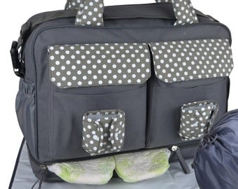 Premium Large Diaper Bag, Large Messenger Tote Diaper Bag in Grey, Divided Into Two Sections Inside. Large Changing Pad, Wet bag