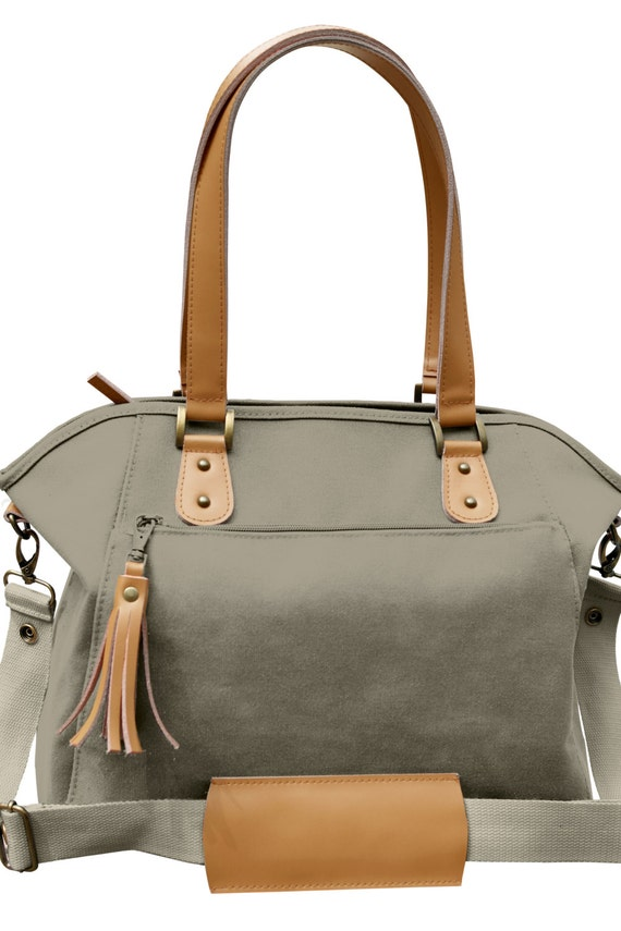 diaper bag taupe canvas leather tote diaper bag foil by creolbags. Black Bedroom Furniture Sets. Home Design Ideas