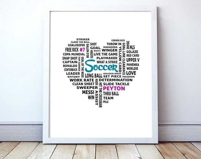 Love Soccer - Custom Love Heart Typography Poster Print
