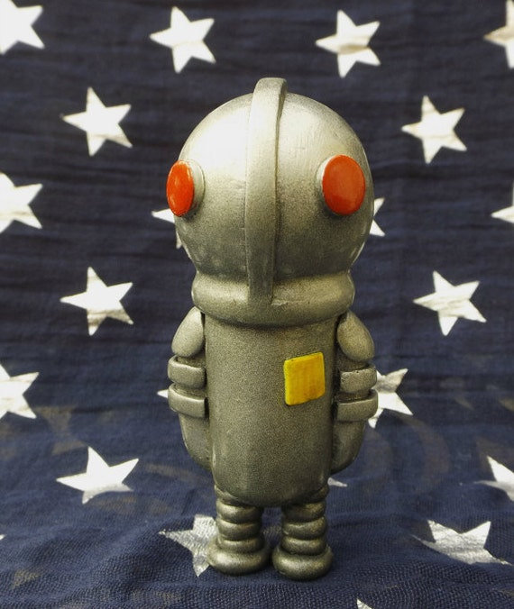 Rupert the Robot Polymer Clay Robot Sculpture Figurine Retro Robot Miniature