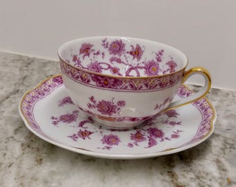 Haviland Limoges Cashmere teacup and saucer, fuschia cashmere teacup, Haviland limoges teacup, pink and gold