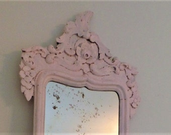 Antique Wood Mirror with Carved Floral Design- Pink Chalk Paint