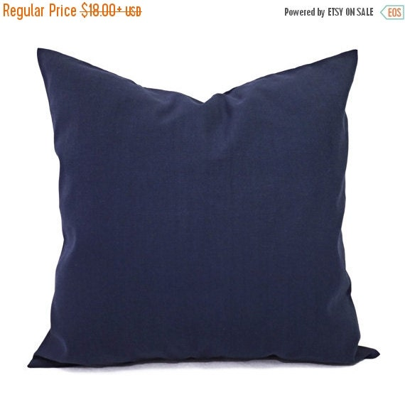 15% OFF SALE Two Solid Navy Throw Pillow by CastawayCoveDecor