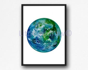 Planet Earth Print Watercolor Planet Solar System Space Art Print Wall Art Astronomy Science Gift Wall Decor Unframed