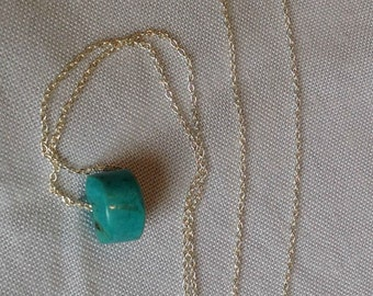 Natural Turquoise Pendant and Sterling Silver Chain