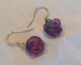 Purple-blue Fluorite Carved Rose Sterling Silver Earrings