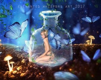 fairy art print, fantasy fairy, fairy in bottle, faerie print, fairy decor, blue print, butterfly print, cute fairy, fairy wings, fae poster