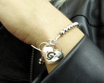 Heart initial bracelet. Heart silver bracelet. Silver bracelet. Monogram bracelet. Personalized bracelet.silver bracelet. Name bracelet