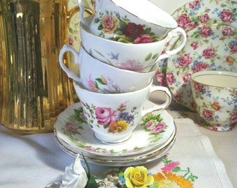 Vintage Mismatched Tea set for Four, Teacups and saucers in English Bone China.