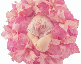 Welcome To The World Baby Girl Wreath