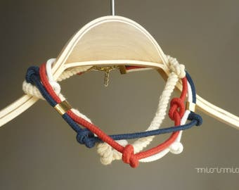 Nautical rope necklace in white red and blue/ White red blue necklace.