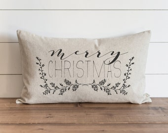 Merry Christmas Garland 16 x 26 Pillow Cover // Christmas  // Holiday  // Throw Pillow // Gift for Her // Accent Pillow