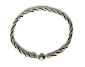 Bead woven Jewelry Multicolor Seed bead Choker Necklace